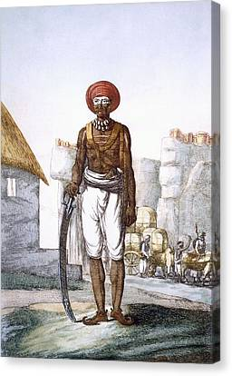 Armed Guard Of The Brijbasis Tribe Canvas Print by Franz Balthazar Solvyns