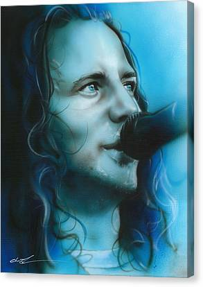 Eddie Vedder - ' Arms Raised In A V ' Canvas Print by Christian Chapman Art