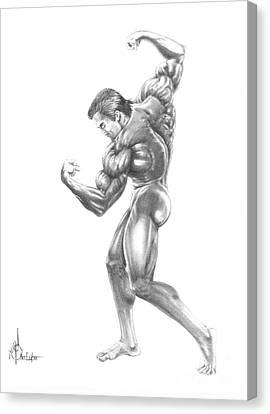 Arnold Schwarzenegger Figure Canvas Print by Murphy Elliott