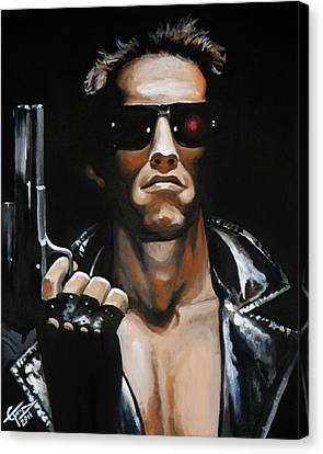 Arnold Schwarzenegger - Terminator Canvas Print by Tom Carlton