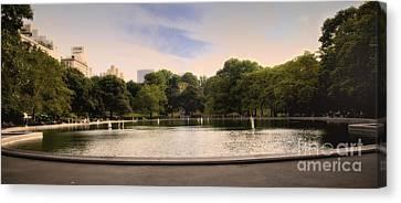 Around The Central Park Pond Canvas Print by Madeline Ellis