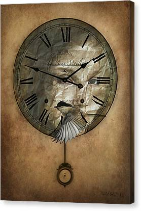 Around The Clock-time Is Flying Canvas Print by Barbara Orenya