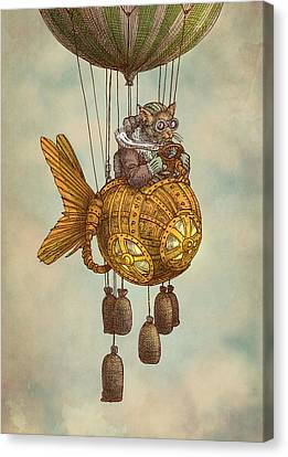 Around The World In The Goldfish Flyer Canvas Print by Eric Fan