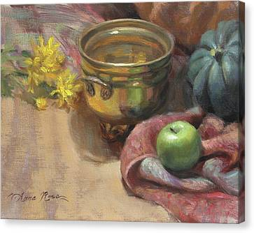 Arrangement In Gold And Green Canvas Print by Anna Rose Bain