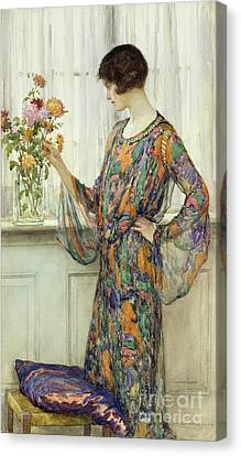 Arranging Flowers Canvas Print by William Henry Margetson