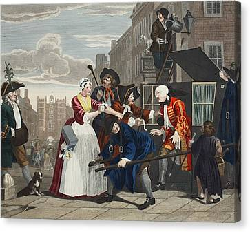 Arrested For Debt, Plate V From A Rakes Canvas Print by William Hogarth
