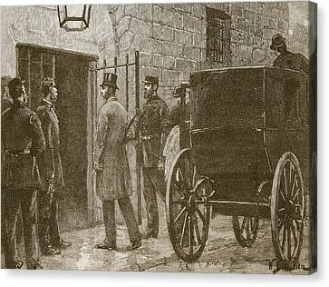 Arrival Of Mr Parnell At Kilmainham Canvas Print by William Barnes Wollen