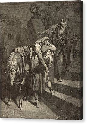 Arrival Of The Samaritan At The Inn Canvas Print by Antique Engravings