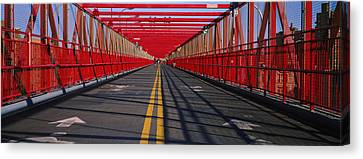 Arrow Signs On A Bridge, Williamsburg Canvas Print by Panoramic Images