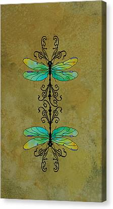Art Nouveau Damselflies Canvas Print by Jenny Armitage