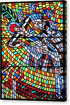 Art Nouveau Stained Glass Windows Ss Vitus Cathedral Prague Canvas Print by Christine Till