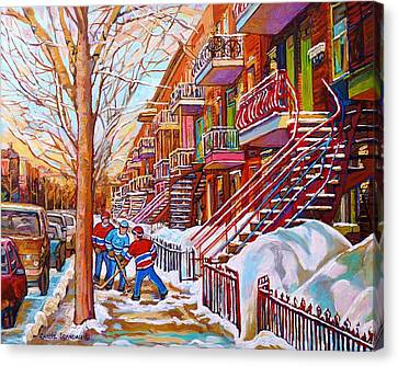 Art Of Montreal Staircases In Winter Street Hockey Game City Streetscenes By Carole Spandau Canvas Print by Carole Spandau