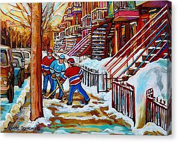 Art Of Verdun Staircases Montreal Street Hockey Game City Scenes By Carole Spandau Canvas Print by Carole Spandau