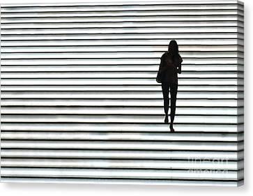 Art Silhouette Of Girl Walking Down Canvas Print by Lars Ruecker