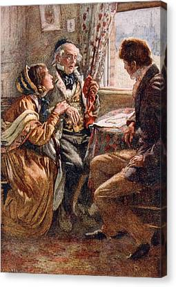 Arthur Clennam Tells The Good News, Illustration For Character Sketches From Dickens Compiled Canvas Print by Harold Copping
