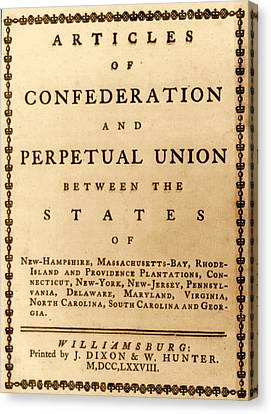 Articles Of Confederation, 1777 Canvas Print by Science Source