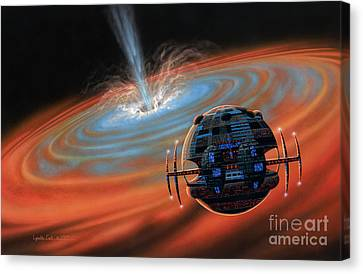 Artificial Planet Orbiting A Black Hole Canvas Print by Lynette Cook