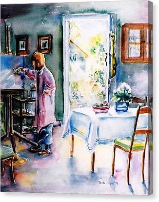Artist At Work In Summer  Canvas Print by Trudi Doyle