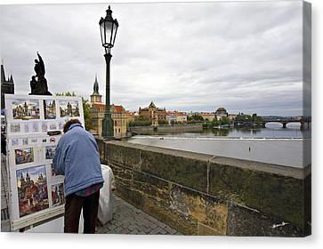 Artist On The Charles Bridge - Prague Canvas Print by Madeline Ellis