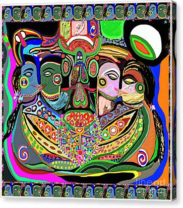Artistic Display Of Orgasm Tantra System Of Sexual Arousal Thru Yoga Asana Mantra Chant Vibration En Canvas Print by Navin Joshi