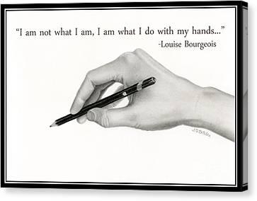Artist's Hand With Text Canvas Print by Sarah Batalka