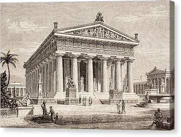 Artists Impression Of The Temple Of Poseidon, Paestum Canvas Print by European School