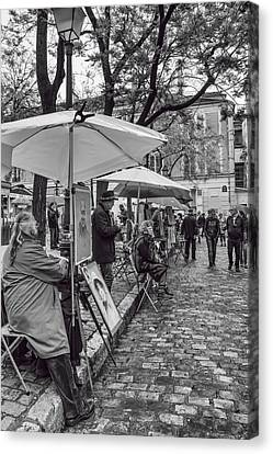 Artists In Montmartre Canvas Print by Georgia Fowler