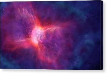 Artwork Of A Bipolar Planetary Nebula Canvas Print by Mark Garlick