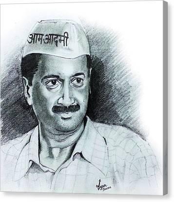 Arvind Kejriwal Aap Sketch  Canvas Print by Mayur Sharma
