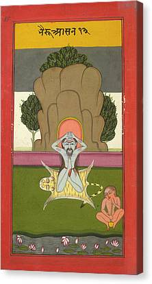 Asanas And Mudras - Hata Yoga Canvas Print by British Library