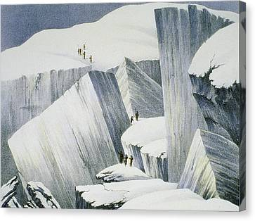 Ascending A Cliff, From A Narrative Canvas Print by English School