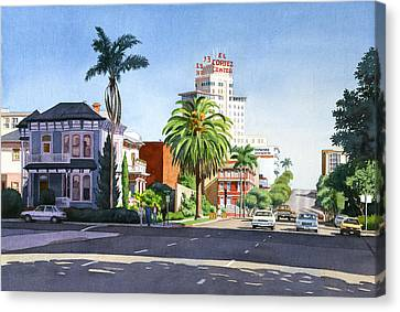Ash And Second Avenue In San Diego Canvas Print by Mary Helmreich