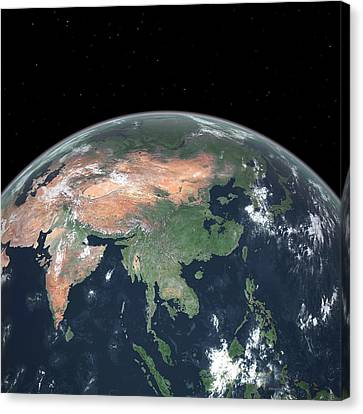Asia With Sea Level Rise Canvas Print by Walter Myers