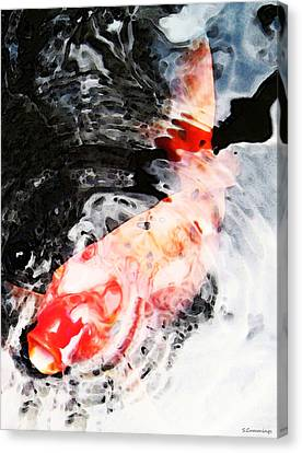 Asian Koi Fish - Black White And Red Canvas Print by Sharon Cummings