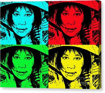 Asian Woman Wearing A Conical Hat Altered Canvas Print by Jim Fitzpatrick
