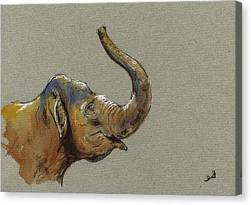 Asiatic Elephant Head Canvas Print by Juan  Bosco