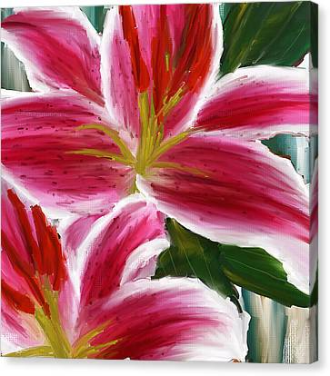 Asiatic Lily- Asiatic Lily Paintings- Pink Paintings Canvas Print by Lourry Legarde