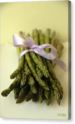 Asparagus With Purple Ribbon Canvas Print by Beverly Brown