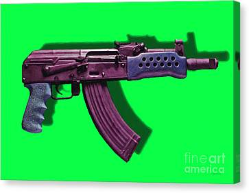 Assault Rifle Pop Art - 20130120 - V3 Canvas Print by Wingsdomain Art and Photography
