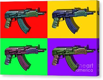 Assault Rifle Pop Art Four - 20130120 Canvas Print by Wingsdomain Art and Photography