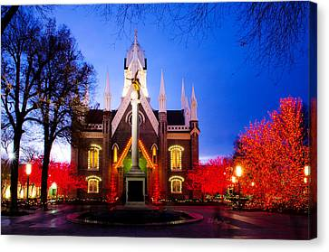 Assembly Hall Slc Temple Canvas Print by La Rae  Roberts