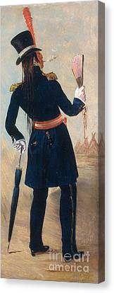 Assiniboine Warrior In Regimental Canvas Print by Photo Researchers