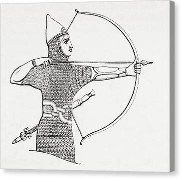 Assyrian Archer Wearing A Cuirass.  From The Imperial Bible Dictionary, Published 1889 Canvas Print by Bridgeman Images