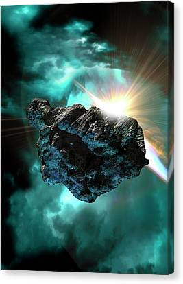 Asteroid In Outer Space Canvas Print by Victor Habbick Visions