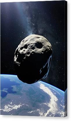Asteroid Passing Earth Canvas Print by Detlev Van Ravenswaay