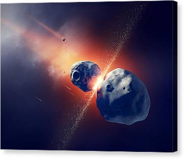 Asteroids Collide And Explode  In Space Canvas Print by Johan Swanepoel