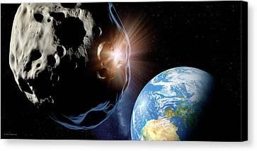 Asteroids Colliding Near Earth Canvas Print by Detlev Van Ravenswaay
