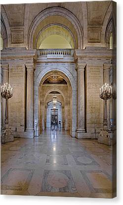 Ny Canvas Print featuring the photograph Astor Hall New York Public Library by Susan Candelario
