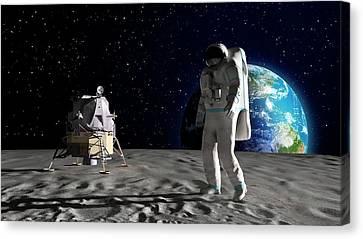 Astronaut On The Moon Canvas Print by Andrzej Wojcicki