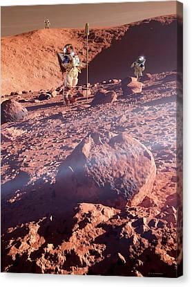 Astronauts On Mars Canvas Print by Detlev Van Ravenswaay